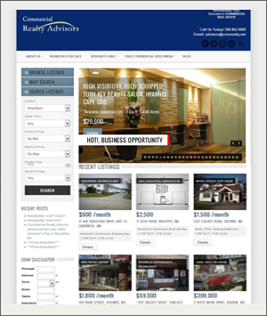 wordpress real estate website for commercial realty advisors hyannis