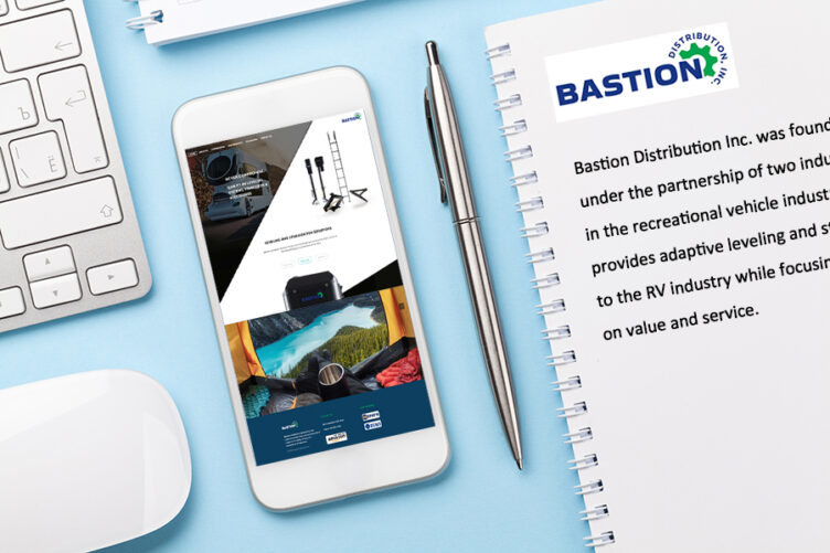image of website on mobile phone for RV parts company website launched